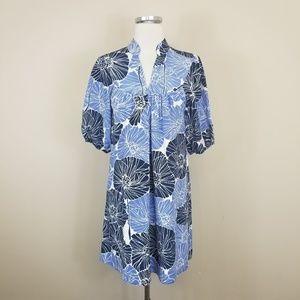 Banana Republic Floral Silk Shift Dress Blue S